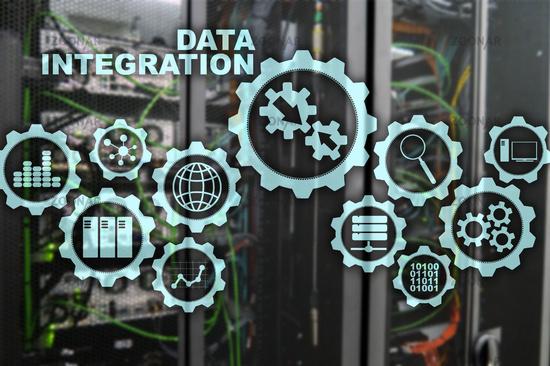Data integration Business Information Technology Concept on Server Room Background