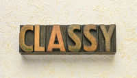 classy word in wood type