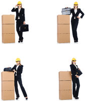 Woman builder with box isolated on white