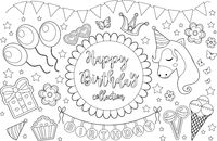 Happy birthday cute coloring book page for kids. Party collection of design elements with balloons, gerland, sweets. Candy and cake. Vector illustration.