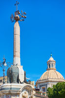Black elpehant with obelisk on its back in Piazza del Duomo in Catania - symbol of the city