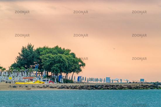 A beautiful sunrise at the beach in Sunny Beach on the Black Sea coast of Bulgaria