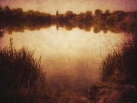 scenic view over lake with vintage filter