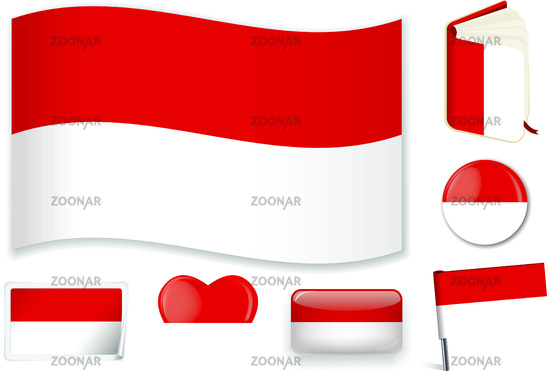Monaco national flag vector illustration in different shapes.