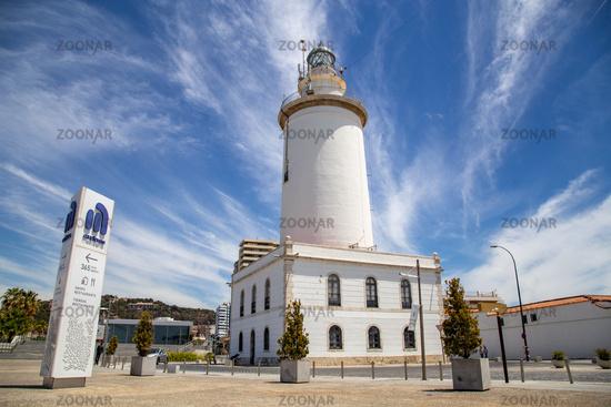 Lighthouse La Farola in Malaga, Spain