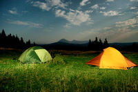 Twp illuminated camping tents