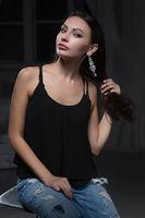 Young beautiful woman posing in studio.