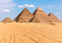 Complex of Giza Pyramids in Egypt, sunny day view