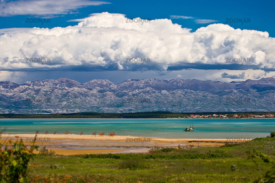 Amazing sea and mountain landscape near Nin