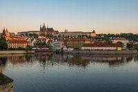 Vltava River and Prague city skyline in Czech Republic