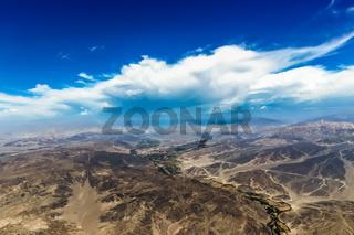 View of the mountainous terrain of Nazca Desert