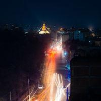 Boudhanath stupa at night, Nepal