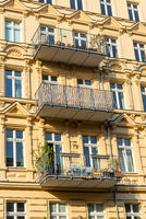 Detail of a renovated old residential construction seen at the Prenzlauer Berg district in Berlin, G