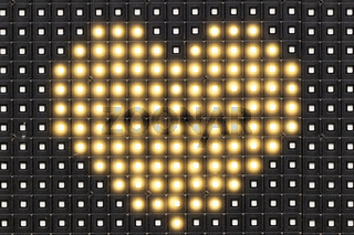 Dots matrix led diplay panel with illuminated symbol of heart