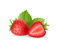 Realistic sweet strawberry set with green leaves, fresh red berries, isolated on white background vector illustration.