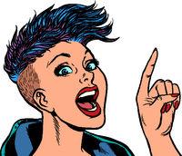 Modern woman points a finger