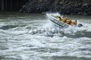 St. John, Canada - September27, 2017: Speed Boat In Rough Water