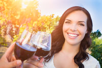 Beautiful Young Adult Woman Enjoying Glass of Wine Tasting Toast In The Vineyard with Friends