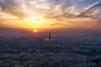 Sunset over dusty air in Seoul