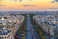 Paris France aerial view city skyline at Champs Elysees street