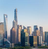 modern building closeup in shanghai at dusk
