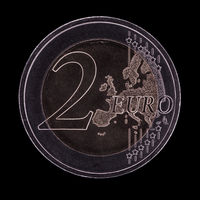 Austrian piece of a two Euro coin isolated on black background. Frontside.