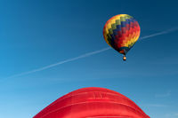 Detail of a starting colorful hot air balloon