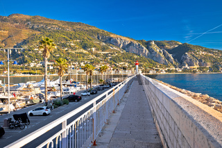 Colorful Cote d Azur town of Menton beach and architecture view, border od France and Italy