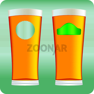 Beer glasses. Mug full with blond beer and foam.