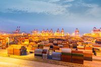 shanghai container terminal in nightfall