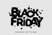 Black Friday Sale. Banner, poster, logo dark color on white background. Discount up to 80 offer, vector illustration.