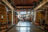 Distilling plants and barrels for the maturation of the spirits of the Palais Bénédictine