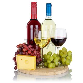 Wein Käse Weine Weißwein Weisswein Rotwein Quadrat Weintrauben Trauben isoliert Freisteller