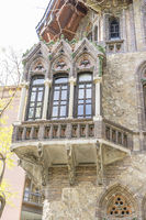Neo-Gothic house, it looks like an enchanted mansion, Facades and traditional architecture in the old town of Barcelona, Spain