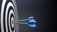 two blue typical dart arrows