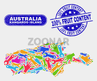 Assembly Kangaroo Island Map and Scratched 100% Fruit Content Watermarks