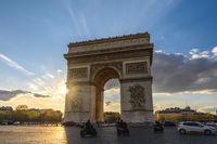 Paris France city skyline sunset at Arc de Triomphe and Champs Elysees