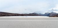 highway on snow area plateau