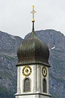 Spire of the Benedictine monastery, Engelberg Abbey, Engelberg, canton of Obwalden, Switzerland
