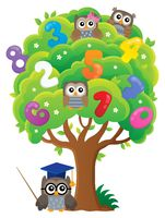 Tree with owls and numbers theme 1
