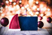 Plate, Copy Space, Santa Hat, Purple Balls, Sparkling Background