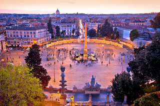 Piazza del Popolo or Peoples square in eternal city of Rome sunset view