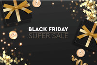 Black Friday Sale. Banner, poster, logo golden color on dark background. Design with realistic black gift boxes with golden ribbon, glitter and candle, vector illustration.