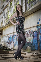 Fashion shoot in front of graffiti