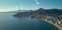 Drone photography coastline of Calpe resort townscape, Spain