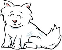cartoon fluffy cat or kitten character illustration