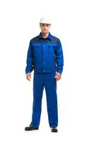 Man in blue work costume isolated shot