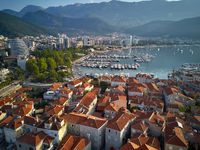 View at sea bay and town of Budva in Montenegro