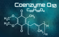 Chemical formula of Coenzyme Q10 on a futuristic background