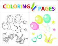 Coloring book page for kids. Birthday balloons, carnival set. Sketch outline and color version. Childrens education. Vector illustration.